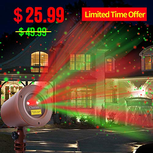 Laser Christmas Lights Outdoor Landscape Star String Projector IP65 Plastic Decoration Red & Green Laser Light in Bronze by Cheriee (Decorations Red And Bronze Christmas)