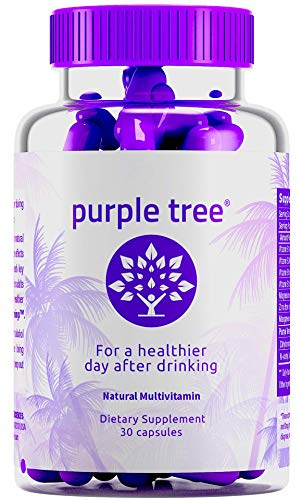 Purple Tree Hangover Cure & Prevention Pills | Dihydromyricetin (DHM), N-Acetyl L-Cysteine NAC, Willow Bark, Vitamin B | Promotes Liver Health & Detox | Made in USA | 30 Pills