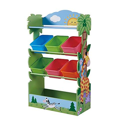 - Fantasy Fields - Sunny Safari Kids' Toy Organizer with 6 Combo Bins and Extra Storage, Green