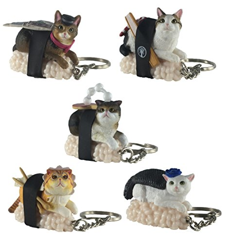 Sushi Cat Clever Idiots Nekozushi Keychain - Blind Box Includes 1 of 5 Collectable Figurines - Features a Detachable Keyring - Authentic Japanese Design (Version 2)