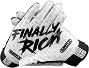 Battle Sports Black Finally Rich Receiver Gloves for Adults - Ultra-Tack Sticky Palm Pro-Style Gloves