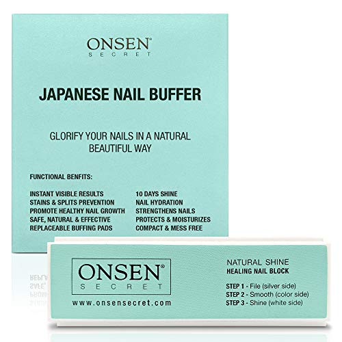 Onsen Secret Nail Buffer Block Made Out Of Sacred Japanese Hot Spring Minerals 3 Way Buffing Methods File Smooth Shine All Natural Nail Polisher For Professional Nail Care