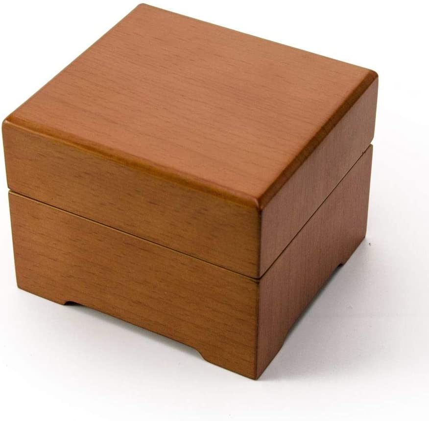 Modern Light Wood Tone Matte 18 Note Music Jewelry Box - Many Songs to Choose - Hark! The Herald Angels Sing