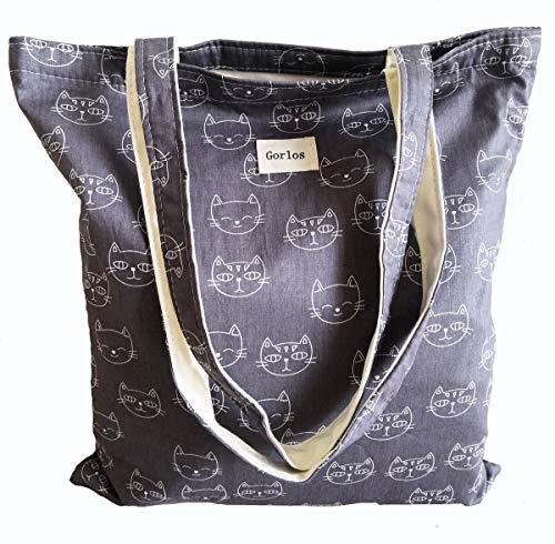 Women's Canvas Tote Shoulder Bag Stylish Shopping Casual Bag Foldaway Travel Bag (14-No closure-cat- white+ grey)