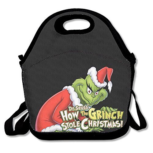 The Grinch Stole Christmas Lunch Bag Travel Zipper Organizer Bag, Waterproof Outdoor Travel Picnic Lunch Box Bag Tote With Zipper And Adjustable Crossbody Strap - Grinch Drawing