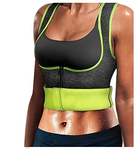 LODAY Women Neoprene Sauna Sweat Waist Trainer Vest with Zipper for Weight Loss Gym Workout Body Shaper Tank Top Shirt (S(US 6-10), Grey(Sauna Suit)) (Best Way To Lose Weight Postpartum)