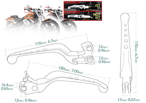 KiWAV Ergonomic black and chrome dual color aluminum levers hand control for Harley 96-07 Dyna Sportster Touring