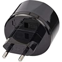 Brennenstuhl Reisstekker/reisadapter (reisstekkeradapter voor: USA stopcontact en Euro stekker) zwart