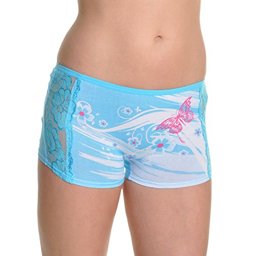 Angelina 6-Pack Butterfly and Lace Boxer Panties, (Butterfly Print Boxers)