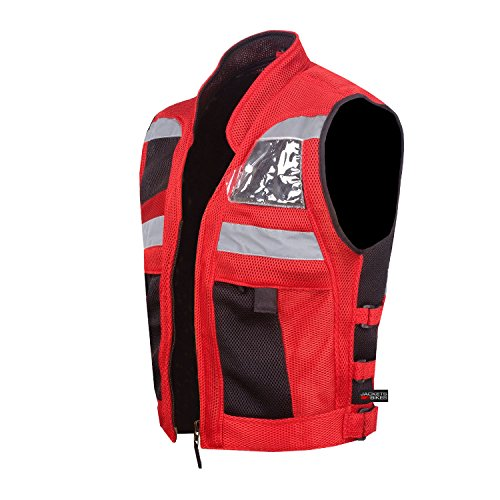 VT MOTORCYCLE RED REFLECTIVE VISIBILITY BASE VEST ()