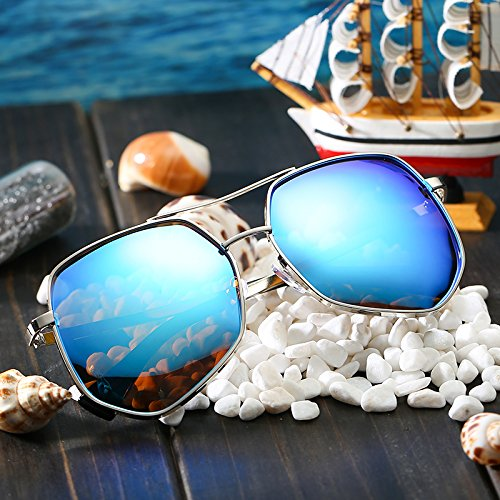 sol hombre de box de de mujer de Honglei sol plata Gafas blanco para Gafas Sun Gafas blue sol ice Silver Mercury para VVIIYJ polarizadas Caja ZYTBq