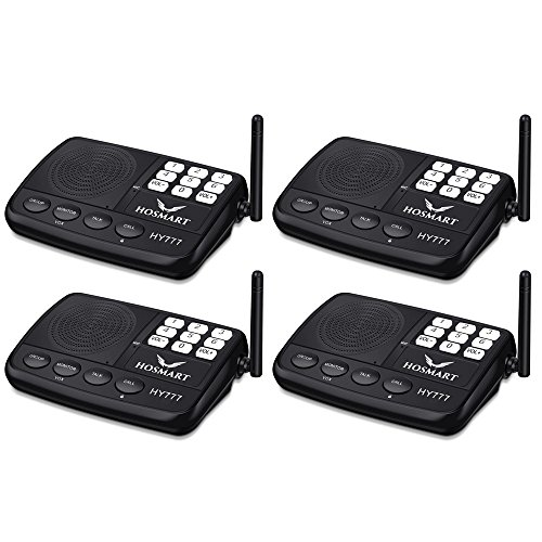 Wireless Intercom System Hosmart 1/2 Mile Long Range 7-Channel Security Wireless Intercom System for Home or Office (2019 New Version) [4 Stations Black]