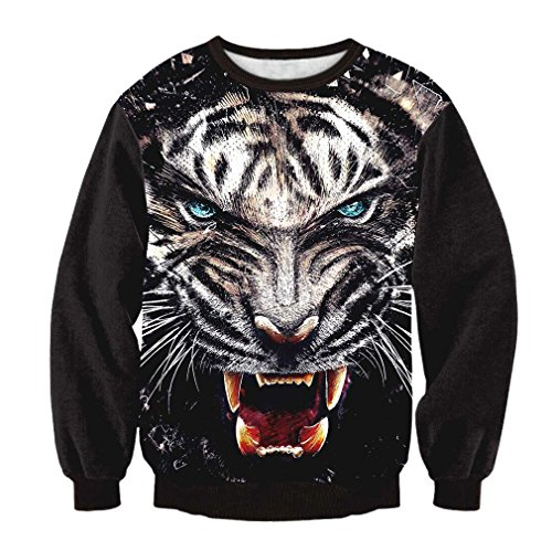 TSlook Men's Long sleeve Tigers 3D Print Sweatshirt T Shirt Medium