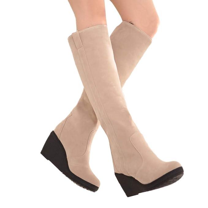 JiaMeng Botas Invierno Mujer Moda Medio Botas Militares Mujeres Botas de Moda Slip-On Wedges con Plataforma Otoño Invierno de tacón Alto Botas para la ...