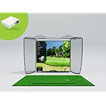 OptiShot 2 Golf In a Box Pro (Includes Optishot2, HomeCourse Pro Retractable Golf Screen, Projector and Stance Mat)