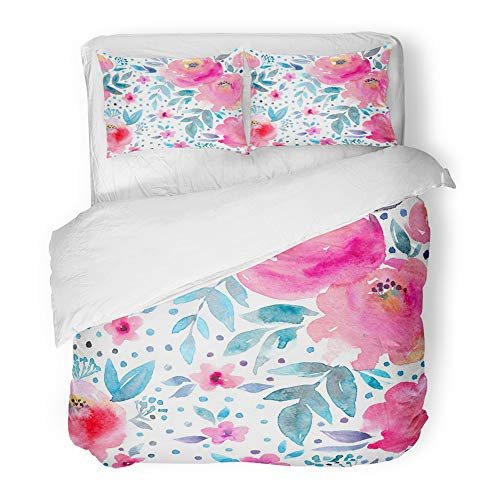 (Emvency Decor Duvet Cover Set Twin Size Blue Peony Watercolor Floral Pattern and Hand Gentle Design Raster Pink Watercolour 3 Piece Brushed Microfiber Fabric Print Bedding Set Cover)