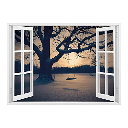 Window Frame Mural/Tree of Life,Majestic Tree in The Garden with A Swing Nostalgic Dramatic Winter Scenery Decorative,Tan Blue Grey/Wall Sticker Mural ()