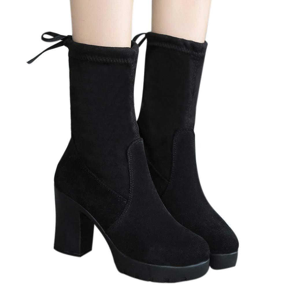 ❤️ Botas de Invierno Elasticidad de Las Mujeres, Impermeables Botas de Media para Mujer Gruesas con tacón Alto Botas de Martin Botas de Elasticidad Delgada Zapatos Botas Absolute