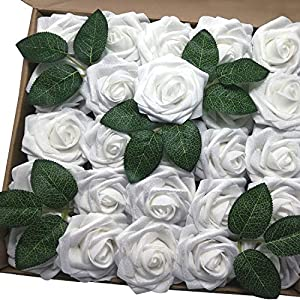 J-Rijzen Jing-Rise Shimmer Silver White Flowers 50pcs Artificial Roses for Bride Wedding Bouquet Baby Shower Flowers Centerpieces Party Home Decoration(Silver White) 56