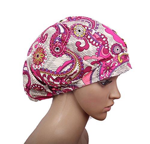 Bw Scrub Cap Bouffant Surgical Hat Cotton Flowers Pattern