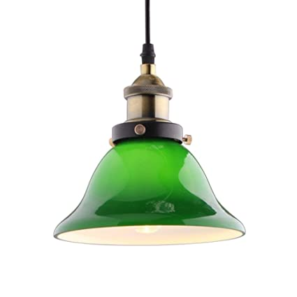 fe9218f827fe JiaYouJia Vivid Emerald Green Glass Retro Pendant Light E27 60W (Large)   Amazon.co.uk  Kitchen   Home