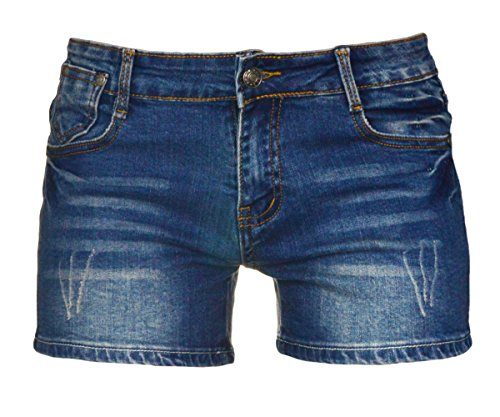 (PHOENISING Women's Sexy Denim Fabric Short Pants Comfy Stretchy Shorts,Size 2-16 Dark)