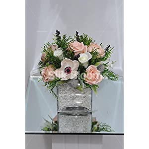 Gorgeous Artificial Pale Pink Anemone and Rose Table Centrepiece w/ Greenery 59