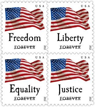 USPS Forever Stamps Four Flags ATM Sheet of 18 x Forever US Postage Stamps Photo #1
