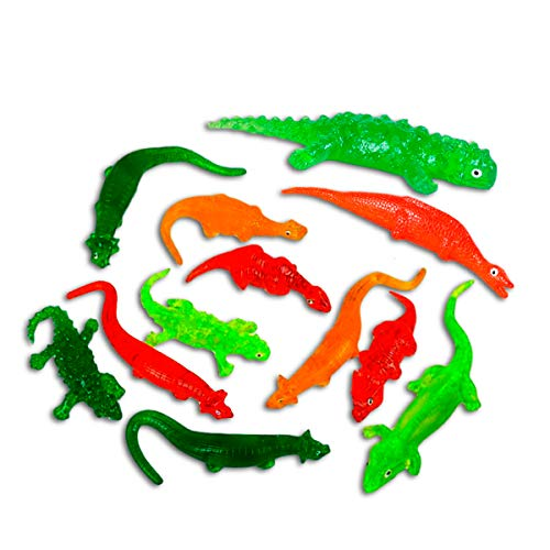 Kicko Assorted Sticky Dinosaurs - Pack of 12, 6 to 9.5 Inch Colored, Elastic and Stretchy Dinos - Party Favors and Supplies, Stress and Anxiety Reliever, Fidget, Imaginative and Sensory ()