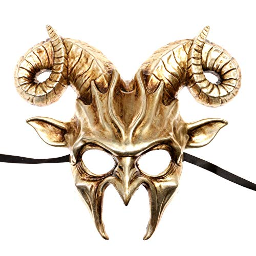 ILOVEMASKS Krampus Ram Demon with Horns Devil Halloween Mask - Metallic Silver ()