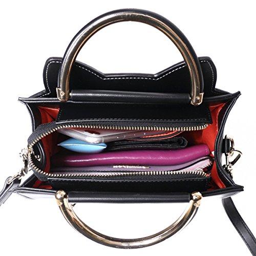 Bolsos Gato de Mujer Bandolera Pequeña Rojo Bolsa Animales Bag Piel Imitación de Hombro para Niña Negro S