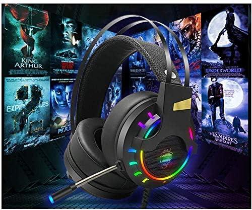 RENKUNDE 黒のケーブルゲームヘッドセットカラフルなライトヘッドマウントヘッドフォンの男性と女性の一般的なリスニング音楽で調整可能 ゲーミングヘッドセット