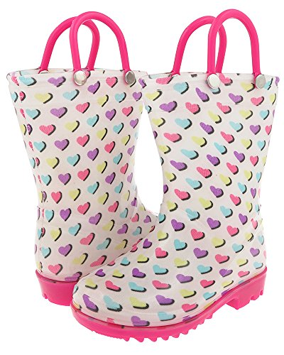 Capelli New York Multi Shadow Hearts Print with Handles Toddler Girls Rain Boot White Combo 8/9 Capelli Heart