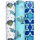 Hanukkah Gift Wrap in Assorted Designs - 3 Rolls total 150 sq.ft. (Light Blue)