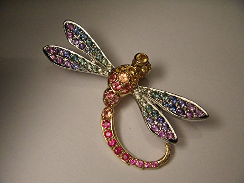 Stunning 18K 2-Tone Two Tone Gold Multi-Colored Sapphire Dragonfly Brooch Pin by GEMSforyou