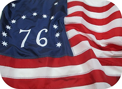 BENNINGTON FLAG 3x5 ft - Beautiful, Durable All Weather Nylon SPIRIT of 76 FLAG Fully Sewn VIBRANT STRIPES EMBROIDERED STARS and NUMBER 100% Made in USA FADE RESISTANT (1776 Flag Bennington)