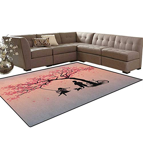 Cherry Outdoor Swing - Tree of Life,Carpet,Children Playing on a Tire Swing Under Cherry Tree with Dog Blossom Spring Art,Indoor/Outdoor Area Rug,Pink Black Size:6'x8'