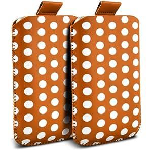 Samsung Galaxy Fame S6810 Protección Premium Polka PU ficha de extracción Slip In Pouch Pocket Cordón piel cubierta de la caja de liberación rápida (Twin Pack) anaranjado y blanco por Spyrox