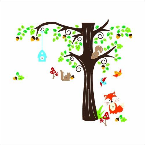 XXL Jungle Waldtier mit Fuchs, Vögel und Eichhörnchen spielen auf bunten Baum Wandtattoo Wandaufkleber für Kinder Kindergarten (X Large)