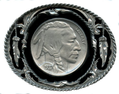 Indian Head Nickel Design Belt Buckle 3-1/4