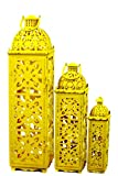 Urban Trends Collection UTC94302 Metal Lanterns, Yellow, Set of 3
