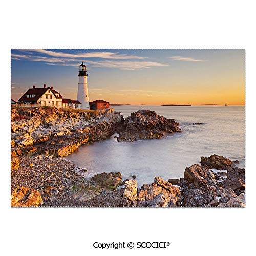 SCOCICI Set of 6 Printed Dinner Placemats Washable Fabric Placemats Cape Elizabeth Maine River Portland Lighthouse Sunrise USA Coast Scenery for Dining Room Kitchen Table Decoration]()