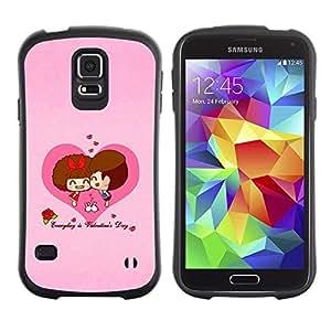 """Hypernova Slim Fit Dual Barniz Protector Caso Case Funda Para Samsung Galaxy S5 [Corazón del amor Pares lindos""""]"""