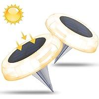 Juego de 2 Luces Solares para Exterior Jardin, Luz de Suelo Solar con 8 Luces Led, IP68 impermeable Luces de Suelo…