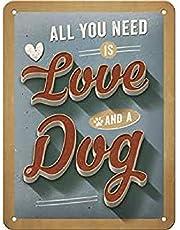 Nostalgic-Art Retro Tin Sign – PfotenSchild – Love Dog – Gift idea for pet owners, Metal Plaque, 15 x 20 cm
