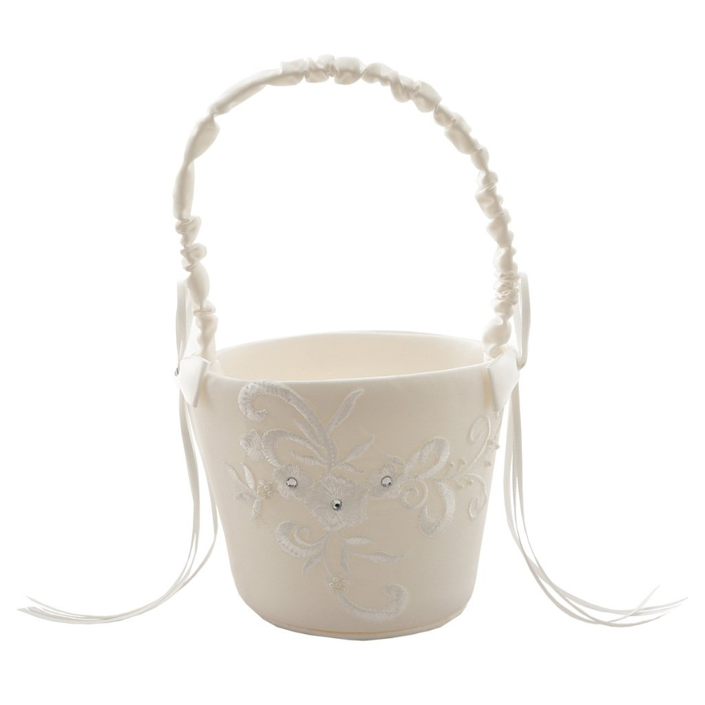 Wedding Ceremony Party Flower Basket Love Case Satin Bowknot and Rose Flower Basket Wedding Party