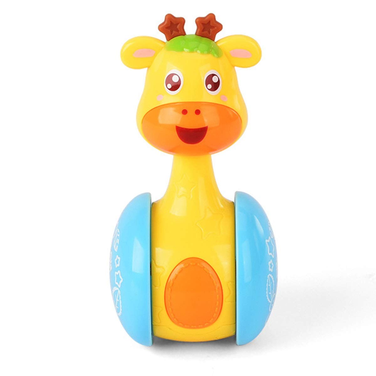 Baby Cartoon Giraffe Rattle Tumbler Doll Toy Hand Jingle Shake Ring Bell Roly-Poly Learning Education Intelligence Development Toy Tabpole