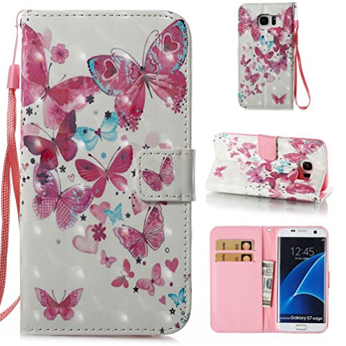 Galaxy S7 Edge Leather Case,Firefish Protective Stylish Leather Shell with Magnetic Closure[Folio Style] Wallet Cover Shockproof Case Card Slot Holder for Samsung Galaxy S7 Edge-Butterfly group