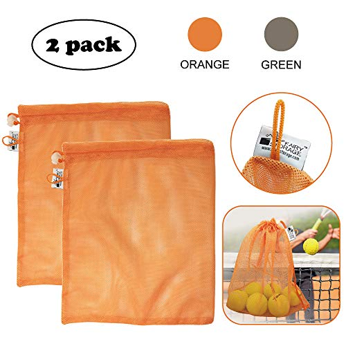 "Price comparison product image Fairy Storage Durable Orange Mesh Drawstring Sports Equipment Bag, Gym Drawstring Bags,  Tennis Ball Bag,  Medium 12""x14"",  Pack of 2"
