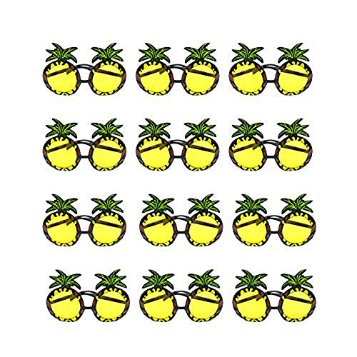 Cimeiee 12 Pairs Fashion Party Decoration Pineapple Shades Sunglasses Eyewear for Party Props (12) Yellow -